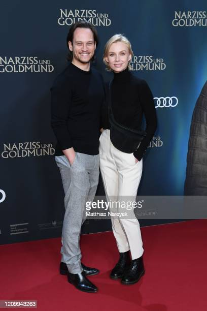 "Vinzenz Kiefer and his wife Masha Tokareva attend the world premiere of the movie ""Narziss und Goldmund"" at Zoo Palast on March 02, 2020 in Berlin,..."