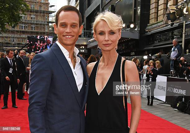 "Vinzenz Kiefer and Masha Tokareva arrive for the European Premiere of ""Jason Bourne"" at Odeon Leicester Square on July 11, 2016 in London, England."