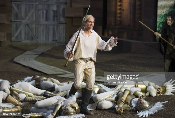 Vinzenz Kiefer as Siegfried acts on stage during the photo rehearsal of this year's play of the Nibelung Festival 'Hebbel's Nibelungs Born To Die' in...