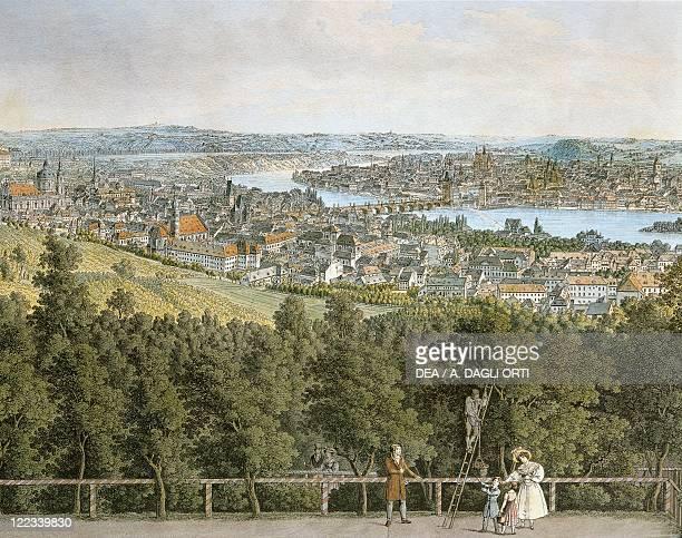 Vinzenz Morstadt Panoramic View of Prague watercolor