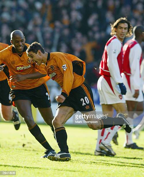Vio Ganea of Wolves celebrates scoring an equilizing goal during the FA Barclaycard Premiership match between Wolverhampton Wanderers and Arsenal at...