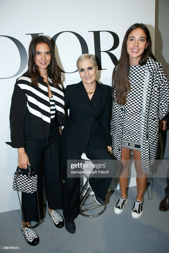 Viola Arrivabene, Stylist Maria Grazia Chiuri and Vera Arrivabene pose after the Christian Dior Haute Couture Spring Summer 2018 show as part of Paris Fashion Week on January 22, 2018 in Paris, France.