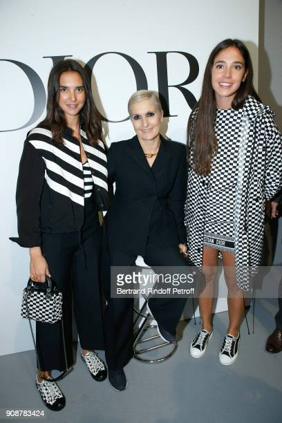 Viola Arrivabene Stylist Maria Grazia Chiuri and Vera Arrivabene pose after the Christian Dior Haute Couture Spring Summer 2018 show as part of Paris...