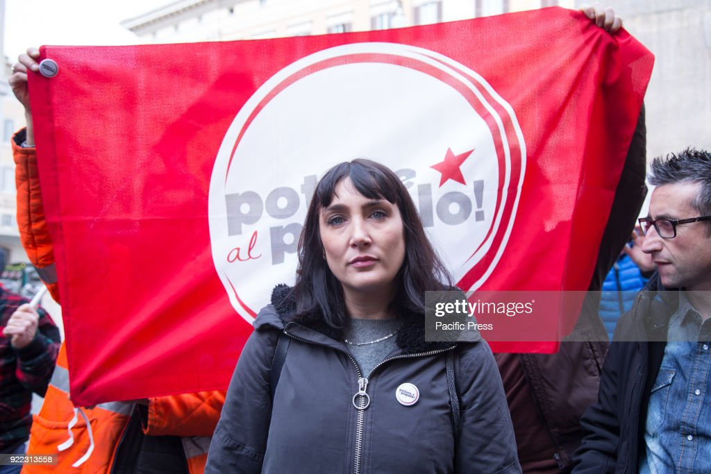 MONTECITORIO, ROMA, RM, ITALY - : Viola Carofalo, leader of 'Potere al Popolo' movement during press conference in front of the Italian Parliament.
