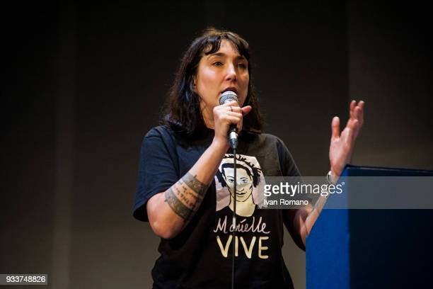 Viola Carofalo leader of the party during her speech wearing a shit dedicated to the brazilian activist Marielle Franco killed in Rio de Janeiro at...