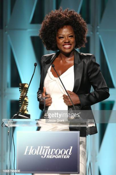 Viola Davis accepts the Sherry Lansing Leadership Award onstage during The Hollywood Reporter's Power 100 Women In Entertainment at Milk Studios on...