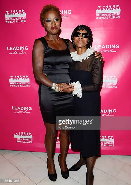 Viola Davis and Cicely Tyson pose for a photo during the National Domestic Workers Alliance Honors Viola Davis And Cicely Tyson In DC at National...