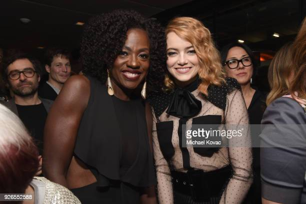 Viola Davis and Emma Stone celebrate with Jane Walker by Johnnie Walker at the 11th Annual Women In Film PreOscar Cocktail Party at Crustacean on...