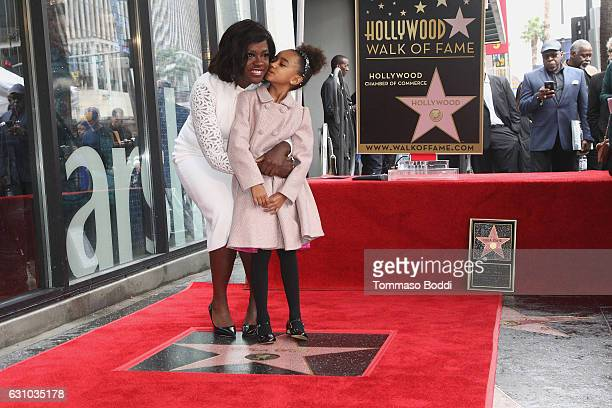 Viola Davis and Genesis Tennon attend a ceremony honoring actress Viola Davis with star on the Hollywood Walk of Fame on January 5 2017 in Hollywood...