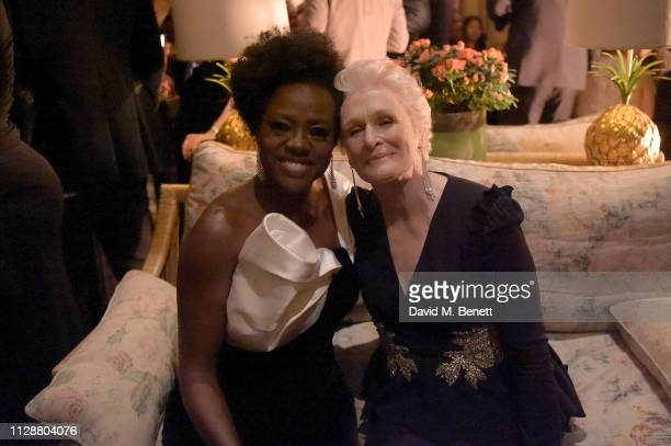 Viola Davis and Glenn Close attend the Netflix 2019 BAFTA AWARDS After Party at Chiltern Firehouse on February 10 2019 in London England