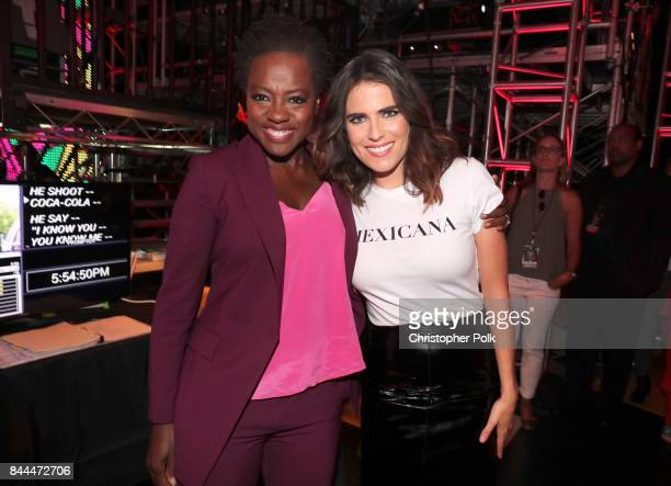 Viola Davis and Karla Souza pose during the XQ Super School Live presented by EIF at Barker Hangar on September 8 2017 in Santa California