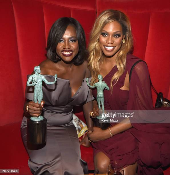 Viola Davis and Laverne Cox attend People and EIF's Annual Screen Actors Guild Awards Gala at The Shrine Auditorium on January 30 2016 in Los Angeles...