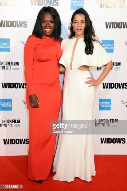 Viola Davis and Michelle Rodriguez attend the European Premiere of Widows and opening night gala of the 62nd BFI London Film Festival on October 10...