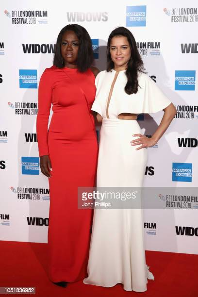 """Viola Davis and Michelle Rodriguez attends the European Premiere of """"Widows"""" and opening night gala of the 62nd BFI London Film Festival on October..."""