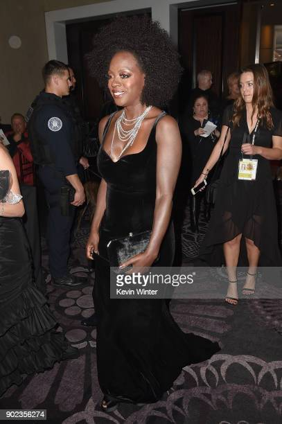 Viola Davis attends a cocktail reception during The 75th Annual Golden Globe Awards at The Beverly Hilton Hotel on January 7 2018 in Beverly Hills...