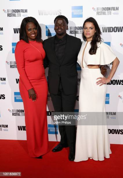 Viola Davis Daniel Kaluuya and Michelle Rodriguez attend the European Premiere of Widows and opening night gala of the 62nd BFI London Film Festival...