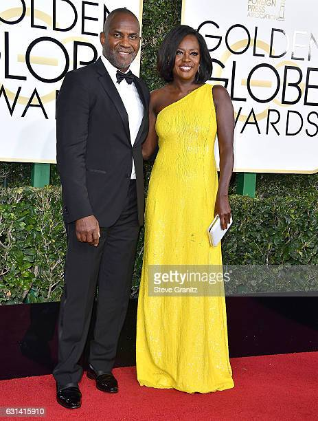 Viola Davis Julius Tennon arrives at the 74th Annual Golden Globe Awards at The Beverly Hilton Hotel on January 8 2017 in Beverly Hills California