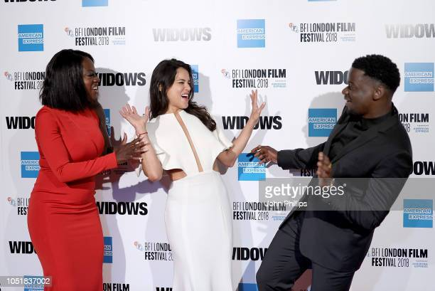 Viola Davis Michelle Rodriguez and Daniel Kaluuya attend the European Premiere of Widows and opening night gala of the 62nd BFI London Film Festival...
