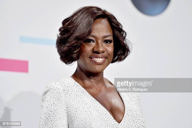 Viola Davis poses in the press room during the 2017 American Music Awards at Microsoft Theater on November 19 2017 in Los Angeles California