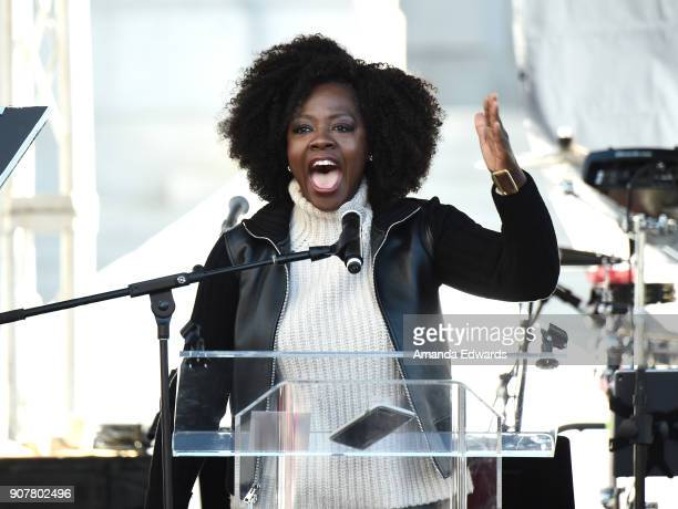 Viola Davis speaks onstage at 2018 Women's March Los Angeles at Pershing Square on January 20 2018 in Los Angeles California