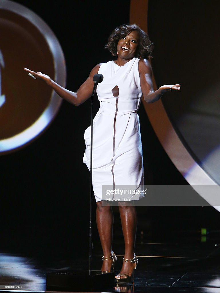 Viola Davis speaks onstage at the 'Teachers Rock' benefit event held at Nokia Theatre L.A. Live on August 14, 2012 in Los Angeles, California.