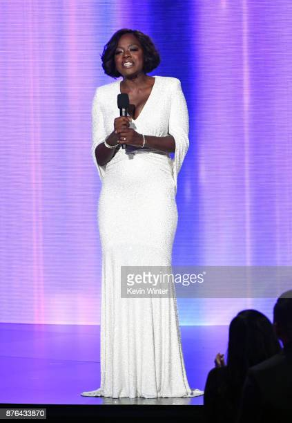 Viola Davis speaks onstage during the 2017 American Music Awards at Microsoft Theater on November 19 2017 in Los Angeles California