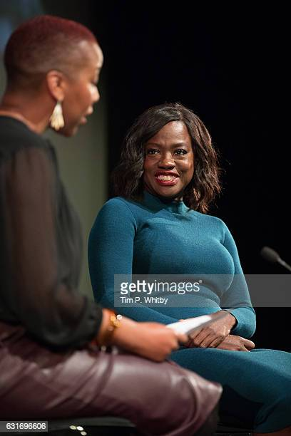 Viola Davis talks to Gaylene Gould during a qa at a preview screening of 'Fences' of at BFI Southbank on January 14 2017 in London England