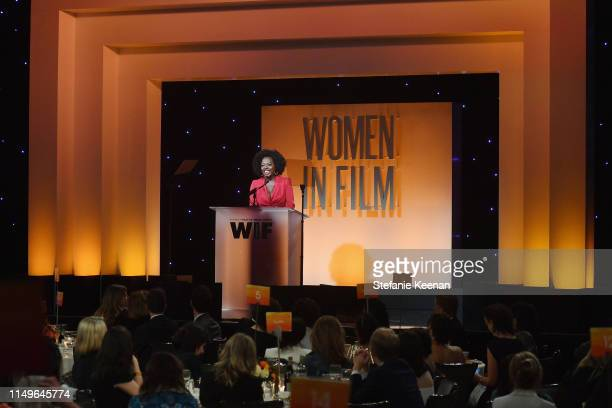 Viola Davis, wearing Max Mara, speaks onstage at the 2019 Women In Film Annual Gala Presented by Max Mara with additional support from partners Delta...
