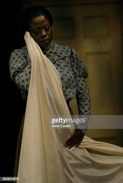 Viola Davis who plays Esther and is a seamstress holds a fine cloth to her face given to her by Mr MarksThe play Intimate Apparel will be at the Mark...
