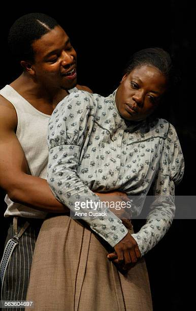 Viola Davis who plays Esther resists the advances of Russell Hornsby who plays GeorgeThe play Intimate Apparel will be at the Mark Taper Forum...