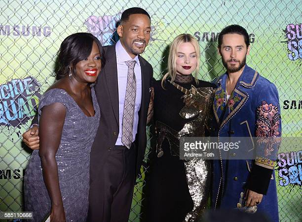 Viola Davis Will Smith Margot Robbie and Jared Leto attend the 'Suicide Squad' World Premiere at The Beacon Theatre on August 1 2016 in New York City
