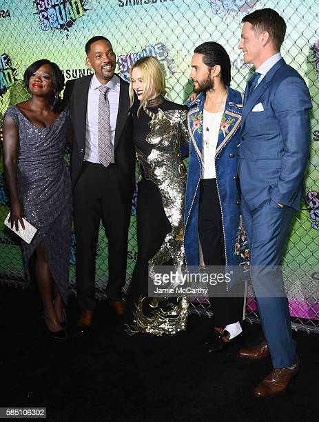 Viola Davis Will Smith Margot Robbie Jared Leto and Joel Kinnaman attend the 'Suicide Squad' World Premiere at The Beacon Theatre on August 1 2016 in...