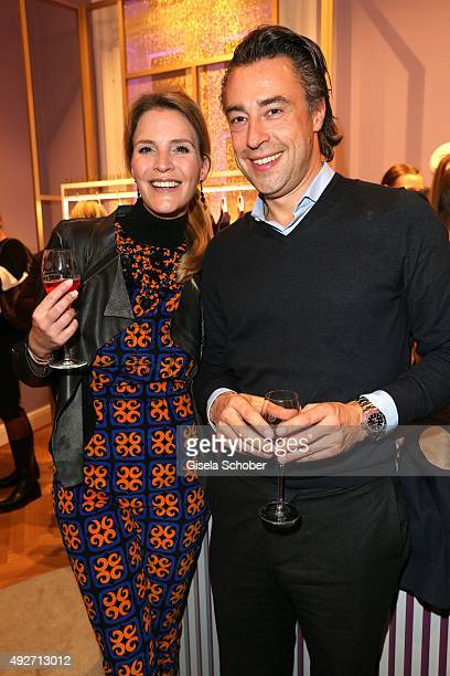 Viola Weiss and her partner Alexander Bagusat during the Talbot Runhof flagship boutique opening at Preysing Palais on October 14 2015 in Munich...
