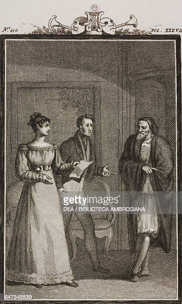 Violante and Pirolino with Pantalone engraving by Antonio Viviani from a drawing by G Steneri from The Feebleminded Woman Act III Scene 3 Comedies...