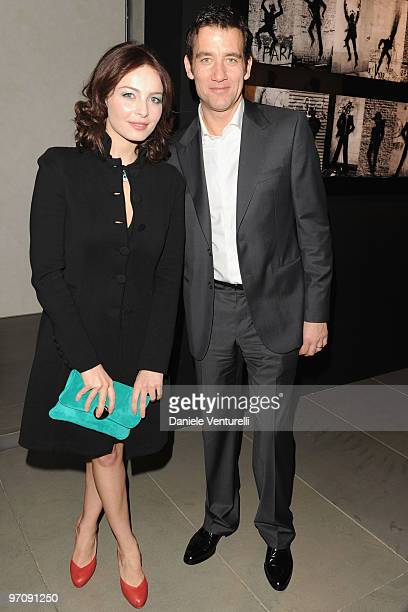 Violante Placido and Clive Owen attend Richard Hambleton Exhibition during Milan Fashion Week Womenswear Autumn/Winter 2010 show on February 25 2010...
