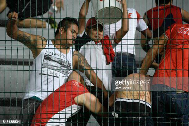 Violence between fans during the 7th round match between Veracruz and Chiapas as part of the Torneo Clausura 2017 Liga MX at Luis 'Pirata' de la...