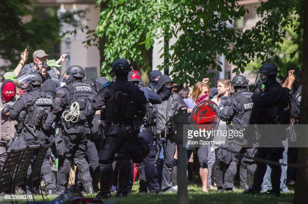 Violence breaks out and anti riot police clashes with the Portland Antifa during a counter protest to the proTrump Freedom Rally at Terry Schrunk...