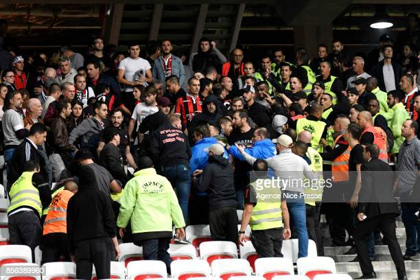Violence with supporters during the Ligue 1 match between OGC Nice and Olympique Marseille at Allianz Riviera on October 1 2017 in Nice