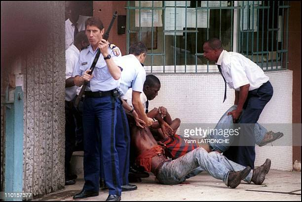 Violent clashes in Abidjan Cote d'Ivoire on October 25 2000 Plateau neighborhood People with bullet wounds are sheltered at the French embassy
