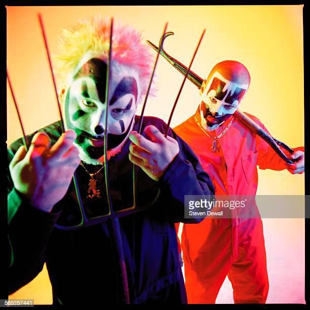 Violent J and Shaggy 2 Dope of Insane Clown Posse pose for a studio portrait in Phoenix Arizona United States 1999