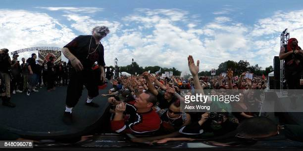 Violent J of hip hop duo Insane Clown Posse greets fans also known as the Juggalos prior to a march September 16 2017 at Lincoln Memorial in...