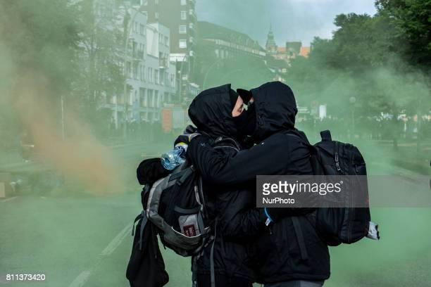 Violent mass demonstrations took place in several flash points throughout Hamburg as German riot police confronted Anti capitalism and radical left...
