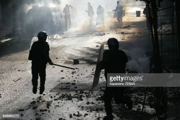 Violent riots in Belcourt district in Algiers Algeria on January 7 2011
