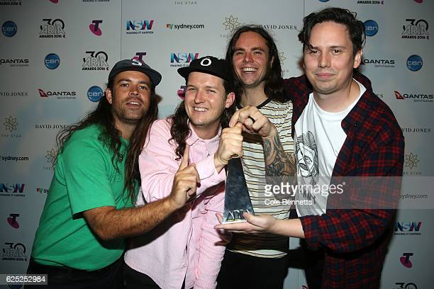 Violent Soho pose in the awards room with an ARIA for Best Hard Rock/Heavy Metal Album during the 30th Annual ARIA Awards 2016 at The Star on...