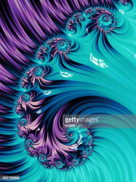 Violet and Aqua Spiral Abstract Fractal pattern