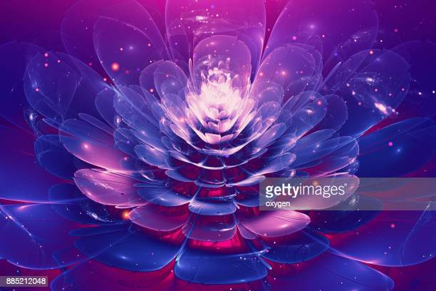 Violet and Blue glowing flower fractal with particles
