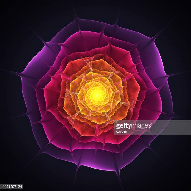 violet and yellow glowing flower fractal on black background - fractal stock pictures, royalty-free photos & images