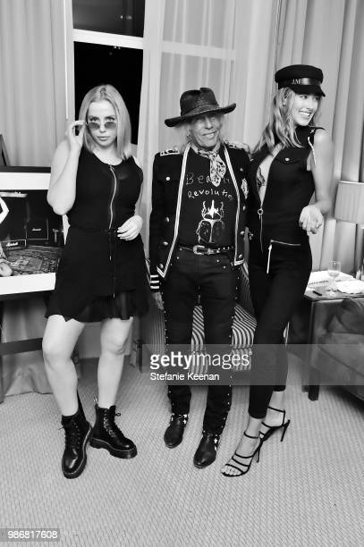 Violet Benson James Goldstein and Jessica Michel Serfaty attend Diesel Presents Scott Lipps Photography Exhibition 'Rocks Not Dead' at Sunset Tower...