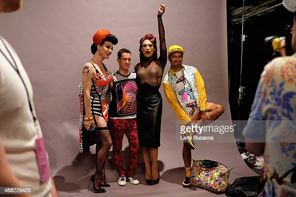 Violet Chachk Jeremy Scott and Miss Fame seen around Skylight at Moynihan Station during Spring 2016 New York Fashion Week The Shows on September 14...
