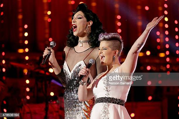 Violet Chachki and Kelly Osbourne speak onstage at Logo's Trailblazer Honors 2015 at the Cathedral of St John the Divine on June 25 2015 in New York...